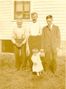 Four Kindermann generations: Ignatz, John, Alois and George in 1918. Ignatz brought his family to America in 1884. They were from the village of Sch�nau, Bohemia.